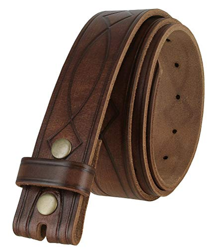 382000 Genuine One Piece Full Grain Leather Hand Tooled Engraved Belt Strap 1-1/2'(38mm) Brown, 44