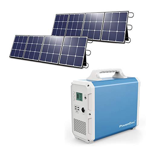 Tragbares Kraftwerk 2400wh / 1000W Solargenerator mit 2 Stück PowerOak Faltbares 120W Solarpanel, Notstromversorgung mit 2 / AC-Steckdose Reine Sinuswelle, DC12V, PD 45W USB-C für Camping im Freien RV