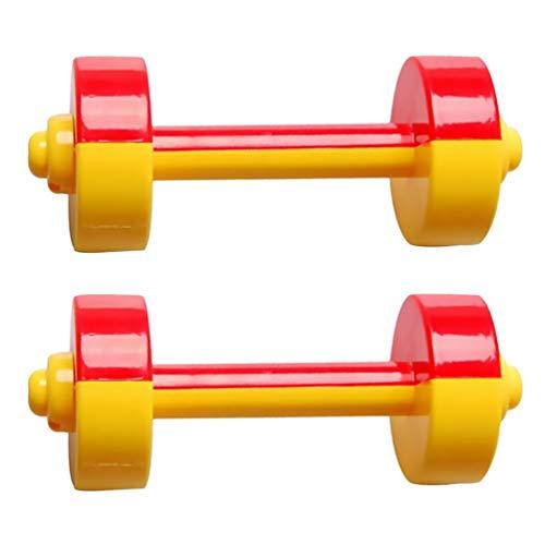 TOYANDONA 1 par de mancuernas cortas de plástico para niños, fitness, juguete de entrenamiento para niños, juguetes deportivos para niños, estudiantes (rojo)