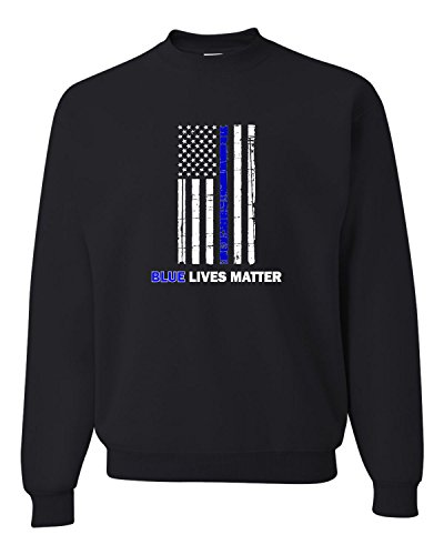 Large Black Adult Blue Live Matter Thin Blue Line Support Police Sweatshirt Crewneck