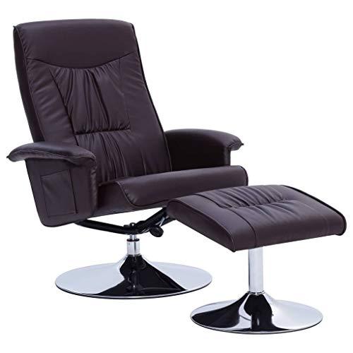 Tidyard Drehsitz Fernsehsessel Liegestuhl Stuhl TV-Sessel Lounge-Set Mit Fußhocker,Relaxsessel Massagesessel Hocker,Kippmechanismus,Rückenwinkel einstellbar, Kunstleder-Polsterung