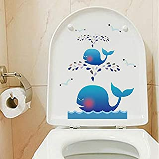 Cartoon Removable Toilet Stickers Cute Lovely Whale Switch Wall Sticker Vinyl Decal Home Decor Decal Waterproof Posters Paper