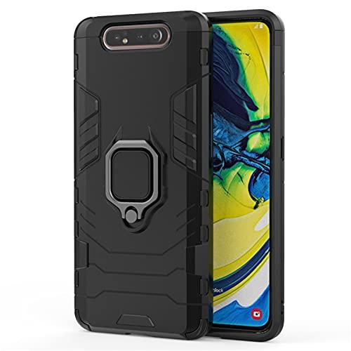 HJKKLL Apto para el Estuche Protector Fit For Samsung Galaxy A80, Estuche a Prueba de Golpes con Anillo para el Dedo, Samsung A80 A805(Color:Darkblack,Size:A30)
