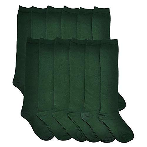MagicLand Calcetines Escolares Algodón/Largo Hasta Rodillas Para Uniformes y Sport(Verde, 14-16 Y/Pack 6)