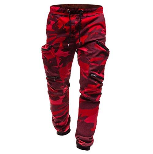 Paolian Pantalon de Sport pour Hommes à Poche coulissante, Pantalon décontracté plissé, Grandes Poches latérales, Style Harlan Doux et Confortable (XL, Camouflage)