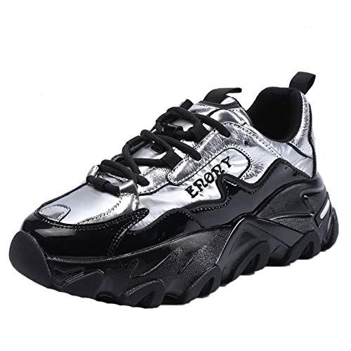 Zapatos de Plataforma Gruesa para Mujer, Resistentes al Desgaste, Casuales, al Aire Libre, Primavera, otoño, Zapatos Gruesos Vintage, Zapatos Creepers de Cuero