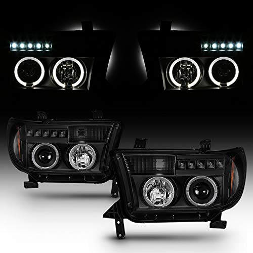 Fits 2007-2013 Toyota Tundra 2008-2017 Sequoia LED Halo DRL Projector Black Headlights Pair Left Left + Right Passenger