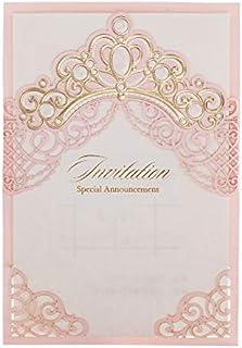stampabile in bianco Bridal Shower Fidanzamento invito Pocket Card Stock con Avvolg 50Pcs WISHMADE 5 x 7 pollici Laser Cut Floral Design in bronzo Blush rosa Inviti di nozze