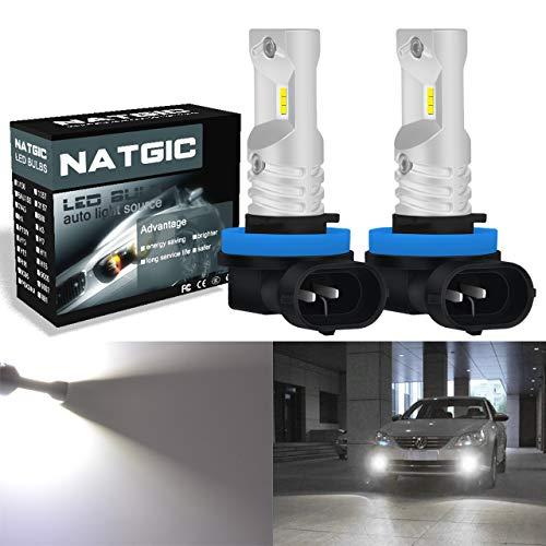 NATGIC H11 H8 H9 Ampoules antibrouillard à leds blanc xénon 1700LM CSP pour projecteur antibrouillard avant, 12V-24V (paquet de 2)