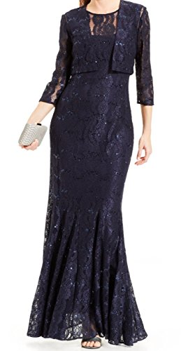 Alex Evenings Women's Long Lace Jacket Dress, Navy, 8