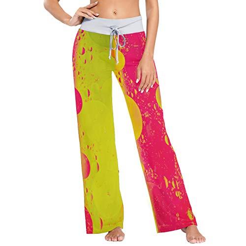Pantalones de Pijama para Mujer Pantalones de Dormir Pantalones Largos atléticos de Pierna Ancha Gotas de rocío Coloridas
