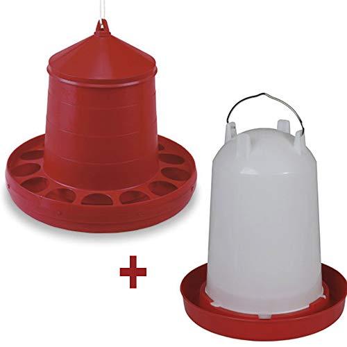 FINCA CASAREJO Pack comedero y Bebedero para gallinas y Todo Tipo de Aves de 12 kg/10 litros.