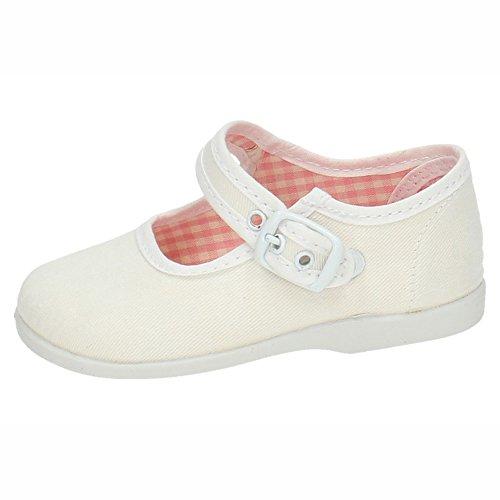 MADE IN SPAIN 951 Lonas DE Tela Blanca NIÑA Zapatillas Blanco 22