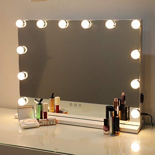 DAYU Hollywood-Stil Schminkspiegel Spiegel mit Beleuchtung, Schminkspiegel mit 12 LED dimmbare Licht, beleuchtet Theaterspiegel, groß Spiegel mit Licht 3 Farbtemperatur, Weiß