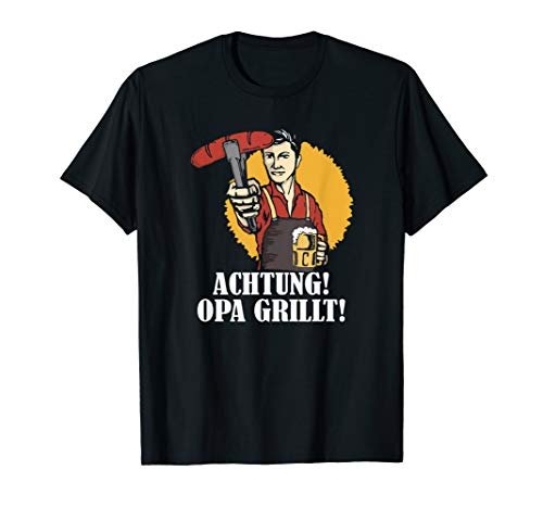 Herren Opa Grillt, Grillchef, Bratwurst & Bier, Lustiges Grill T-Shirt