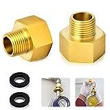 Gas Adapter Set,2 Stücke Gasschlauch Verbinder,1/2' Zoll IG x 1/4' Zoll AG,Gas Adapter aus Messing mit 2 Dichtung,,Adapter Gasherd,für Gasherd oder Kochfeld