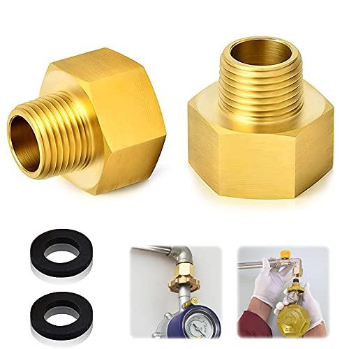"""Gas Adapter Set,2 Stücke Gasschlauch Verbinder,1/2\"""" Zoll IG x 1/4\"""" Zoll AG,Gas Adapter aus Messing mit 2 Dichtung,,Adapter Gasherd,für Gasherd oder Kochfeld"""