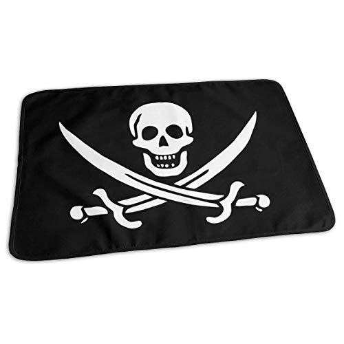 Housse de matelas à langer réutilisable pour bébé Motif crâne de pirate 27,5 x 19,7 cm