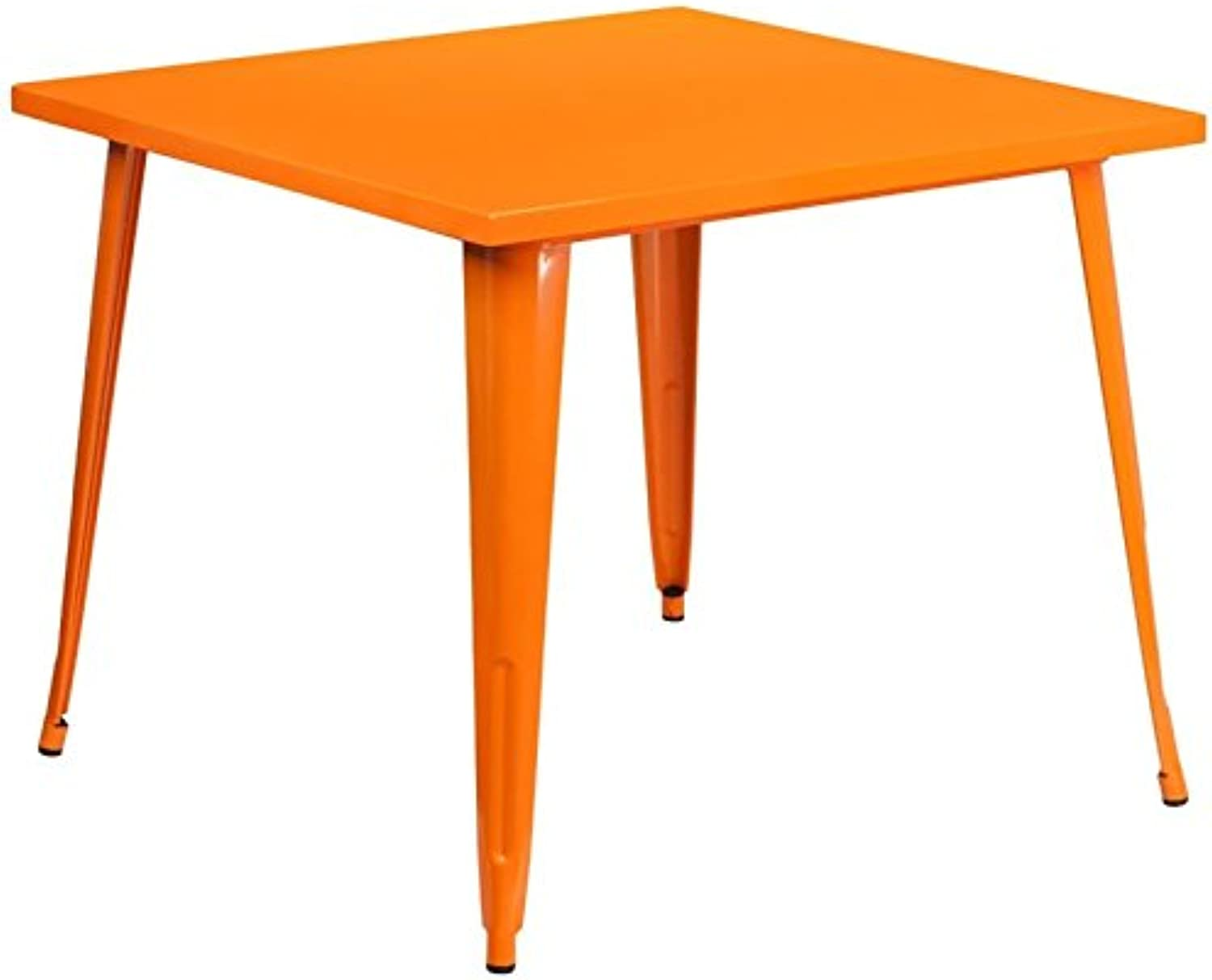 Bowery Hill 35.5  Square Metal Dining Table in orange