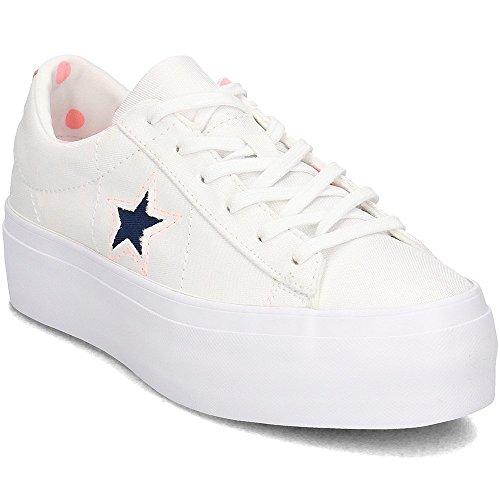 Converse, Donna, One Star Platform, Tessuto, Sneakers, Bianco, 39