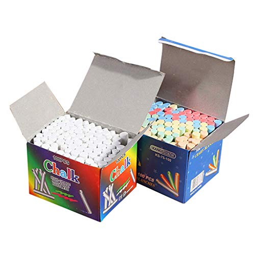Colorful Chalk Non-Toxic Dustless Sidewalk Chalk For Kids Funny Toy Office Home (100pc+100pc)