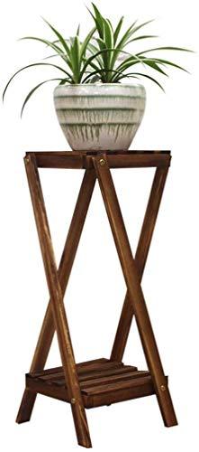 YLongFEI Flower Stand Plant Stand Opslag Planken Natuurlijke Hardhout Bloem Plankhouder Kruidenrek 2 Tier Rek Multi-Purpose voor Indoor Outdoor Tuin Decoratie