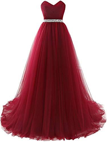 Misshow Abendkleid / Bustierkleid lang, sexy, mit Pailletten aus Chiffon, 32-46 Gr. 42, bordeaux