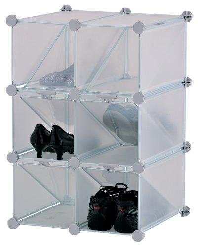 M-Home | Rangement à Chaussures Modulable / 6 Casiers | Plastique | Blanc | 42 x 37,5 x 61,5 cm | INX405