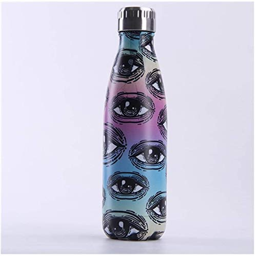 Plztou 500 ml ml Botellas de Agua de Acero BPA Free Thermo Vacuum Aislated Cup Viajes Doble Wall Webware Deportes Frasco, D (Color : A)