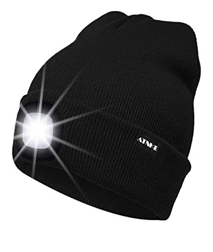 ATNKE LED Lighted Beanie Cap, USB Rechargeable Running Hat Ultra Bright 4 LED Waterproof Light Lamp and Flashing Alarm Headlamp Multi-Color/Noir