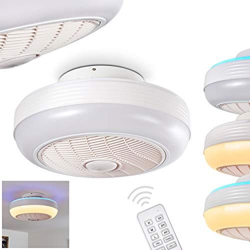 LED Deckenventilator Sarasota in Weiß, LED Deckenleuchte mit Ventilator und blauem 18 Watt LED Leuchtmittel, Ø 46 cm, über Fernbedienung in 3 Stufen einstellbar, 3000-6000 Kelvin, 1440 Lumen, 24 Watt