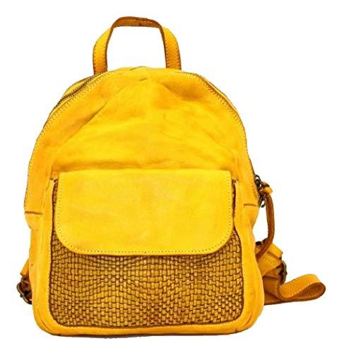 BZNA Bag Sam gelb Backpacker Designer Rucksack Damenhandtasche Schultertasche Leder Nappa Italy Neu
