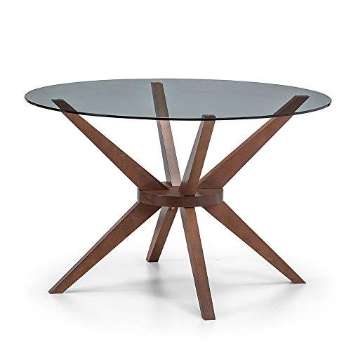 Julian Bowen Chelsea Small Dining Table, Walnut/Glass, 120cm