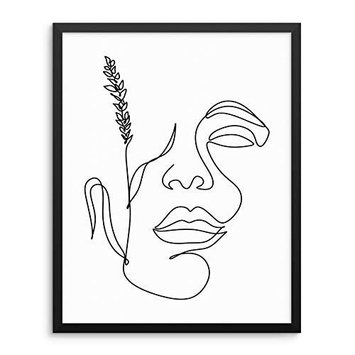 Sincerely, Not Abstract Woman's Face Line Drawing Art Print Botanical Wall Poster 11' x14 UNFRAMED Modern Minimalist Fashion Artwork for Bedroom Living Room Bathroom or Home Office (11'x14' Option 1)