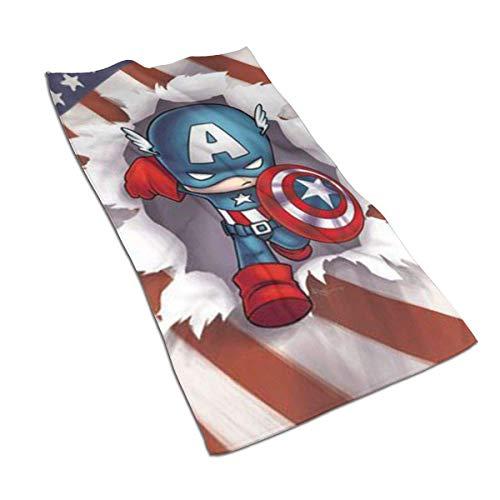 AOOEDM Toalla de Mano/Toalla de baño/Toalla de Playa de Secado rápido Suave súper Absorbente de Dibujos Animados Towel Capitan America, 27,5 x 17,5 Pulgadas