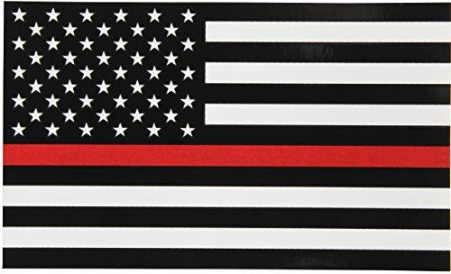 Calcomanía de bandera delgada de línea roja 3x5 pies Pegatina de bandera americana negra, blanca y roja para coches, camiones y SUV en apoyo de bomberos y técnicos de emergencias médicas, 1 paquete