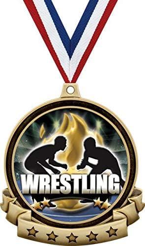 Wrestling Second Place Medals 2 3//4 Silver Titan Series Wrestling Trophy Medal Award