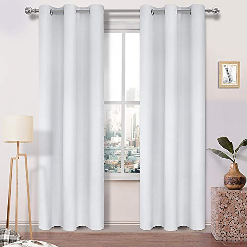 DWCN Greyish White Blackout Curtains Thermal Insulated Room Darkening Thick Window Treatment Grommet Top Drapes for Bedroom 42 x 84 Inch Long, 2 Panels
