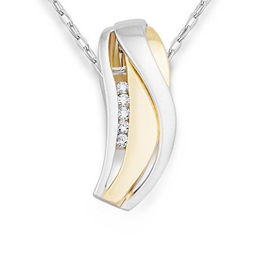 Miore Damen Halskette 14 Karat (585) Bicolor rhodiniert 45 cm weiß MRM405P