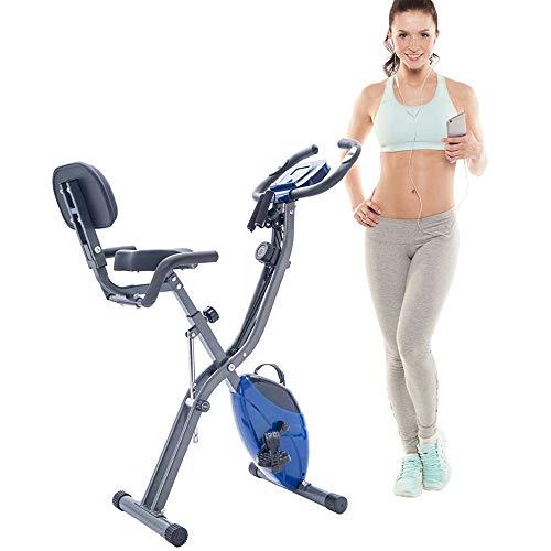 Zusammenklappbares Fahrrad-Heimtrainer, verstellbarer Lenker und Sitzhöhenanzeige, Herzfrequenzsensor, Cardio-Training