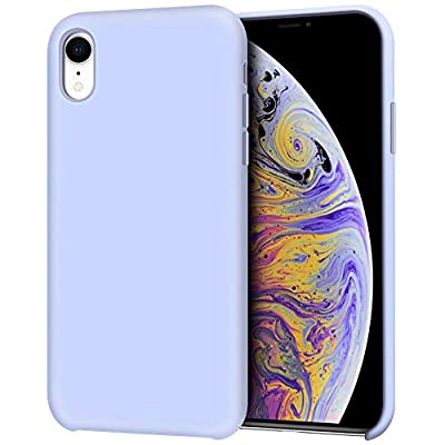 "Anuck iPhone XR Case, Anti-slip Liquid Silicone Gel Rubber Bumper Case with Soft Microfiber Lining Cushion Slim Hard Shell Shockproof Protective Case Cover for Apple iPhone XR 6.1"" 2018 - Light Purple"