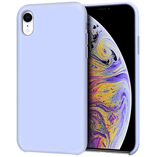 Anuck Case for iPhone XR Case 6.1 inch, Anti-Slip Liquid Silicone Gel Rubber Bumper Case with Soft Microfiber Lining Cushion Slim Hard Shell Shockproof Protective Case Cover - Light Purple