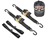 PowerTye 2in x 10ft Retractor-HD Retractable Heavy-Duty Ratchet Tie-Downs w/ Latch Hooks, Includes Soft-Tyes and Storage Bag, 1 Pair, Black
