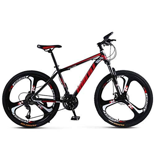 MUYU Mountain Bike 21 velocità (24 velocità, 27 velocità, 30 velocità) Bicicletta Freni A Doppio Disco 26 Pollici MTB Mountain Bike per Bambini,Rosso,30 Speed