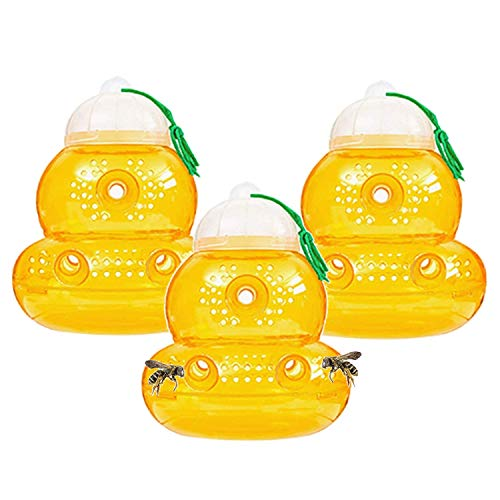 3 Pack Wasp Trap - for Wasps, Yellow Jackets, Hornets with no Seam on The Bottom - Eliminates Leaks