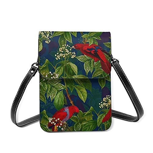 best& Red Parrots Birds Flower - Bolso cruzado para teléfono móvil (microfibra, con regalo), diseño de flores