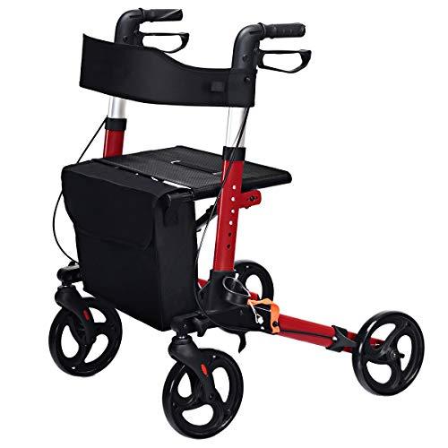 FF Langs Walker Mobility Rollators 4 Wiel Met Zit, Stander EZ Fold-N-Go Lichtgewicht Opvouwbare Walker Met Gecapitonneerde Zit, Ergonomisch Handvat En Draagtas