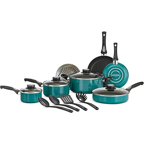 Tramontina 15-Piece Nonstick Cookware Set (Teal)