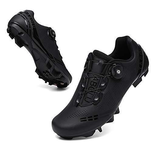 KUXUAN Zapatillas de Ciclismo para Mujer Hombre Zapatillas de Ciclismo MTB Cordón Giratorio con Zapatillas Peloton Compatibles,Black-12UK=(280mm)=46EU