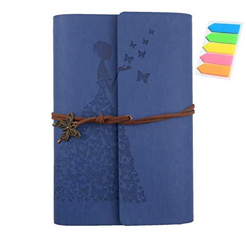 Diario de piel sintética con espiral, cuaderno de viaje con notas adhesivas